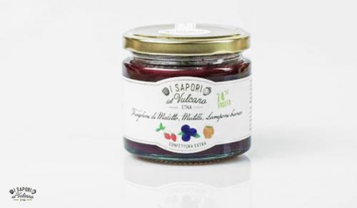 Confettura di Fragolina di Maletto, Mirtillo e Lampone bianco